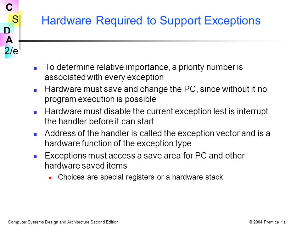 Hardware Required to Support Exceptions