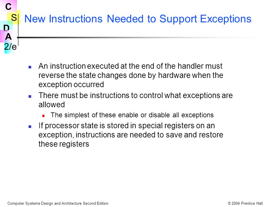 New Instructions Needed to Support Exceptions