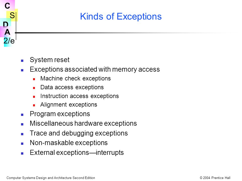Kinds of Exceptions System reset