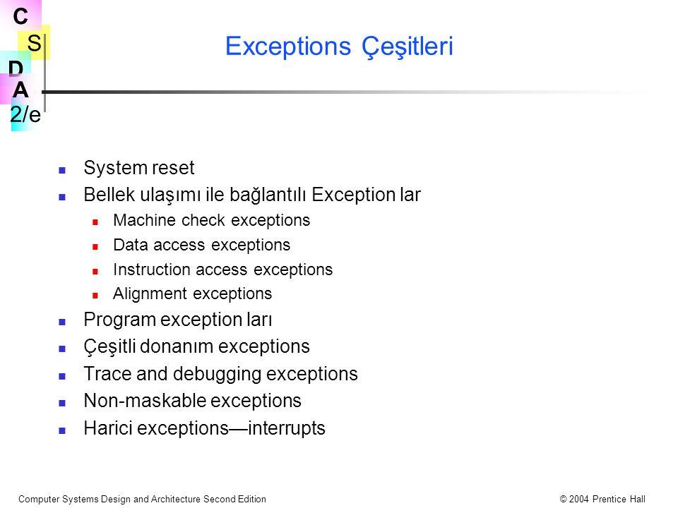 Exceptions Çeşitleri System reset