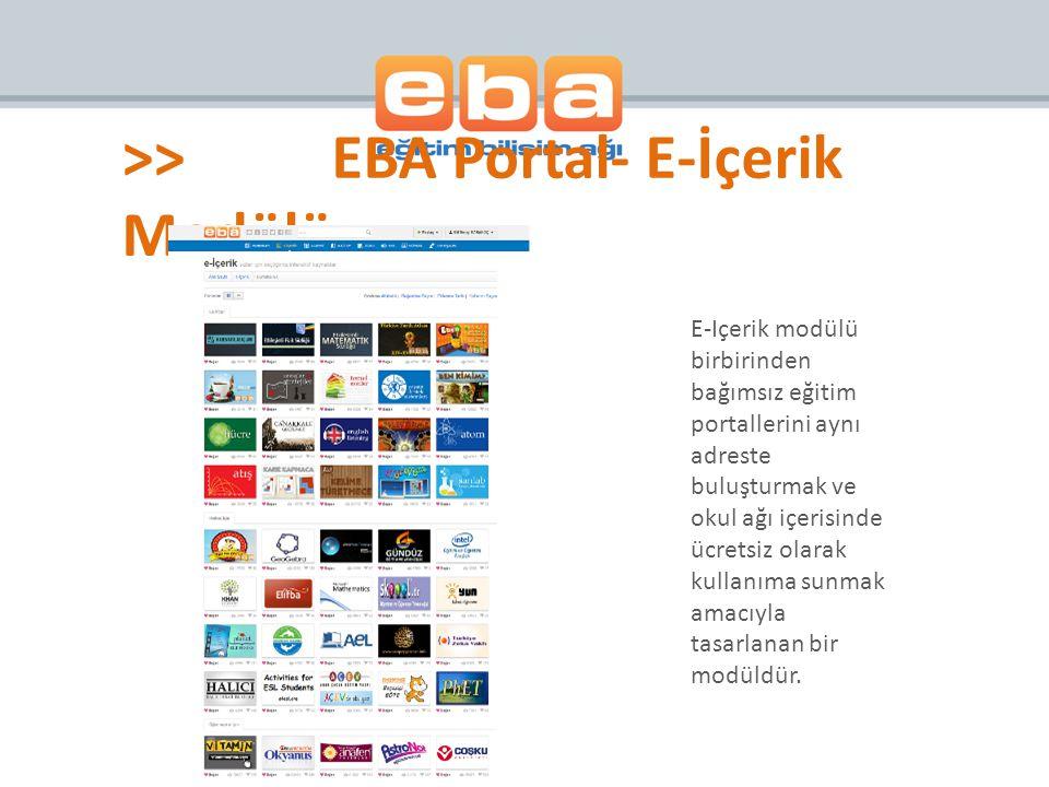 >> EBA Portal- E-İçerik Modülü