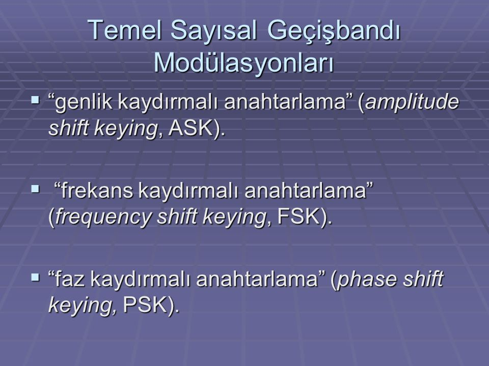Temel Sayısal Geçişbandı Modülasyonları