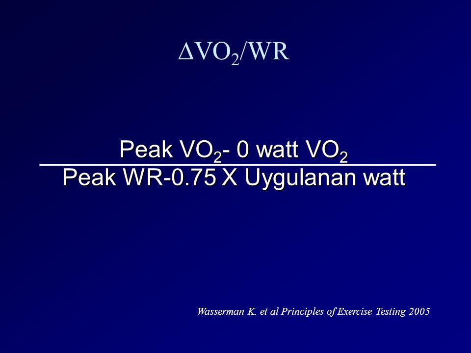 Peak VO2- 0 watt VO2 Peak WR-0.75 X Uygulanan watt