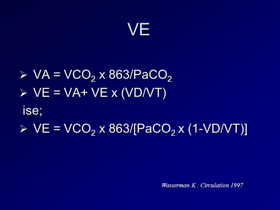 VE VA = VCO2 x 863/PaCO2 VE = VA+ VE x (VD/VT) ise;