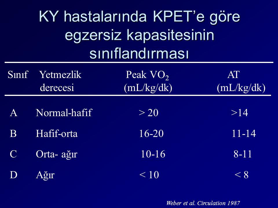 KY hastalarında KPET'e göre egzersiz kapasitesinin sınıflandırması