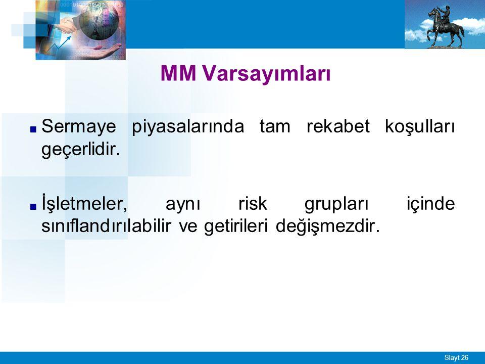 MM. Sonuçları İşletmenin sermaye maliyeti ve piyasa değeri onun sermaye yapısından tamamen bağımsızdır.