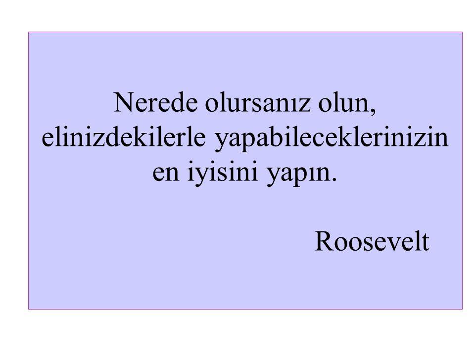 Nerede olursanız olun, elinizdekilerle yapabileceklerinizin en iyisini yapın. Roosevelt