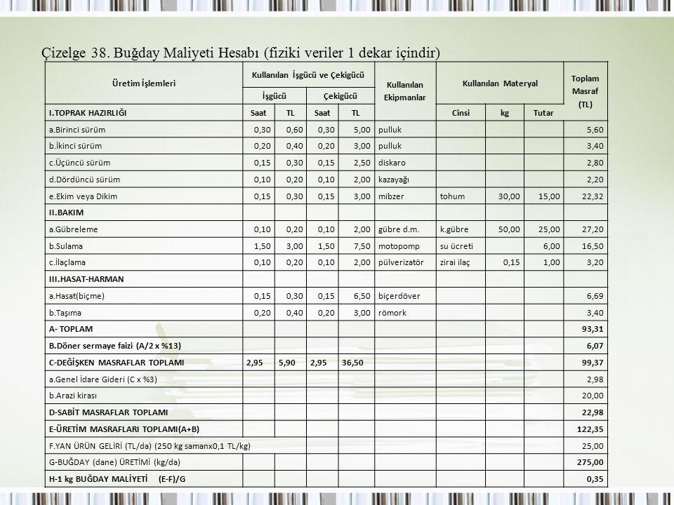 Çizelge 38. Buğday Maliyeti Hesabı (fiziki veriler 1 dekar içindir)