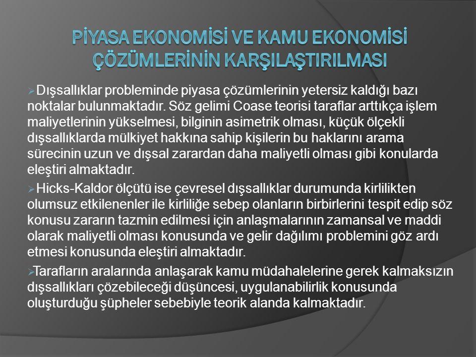 Pİyasa Ekonomİsİ ve Kamu Ekonomİsİ Çözümlerİnİn KarşIlaştIrIlmasI