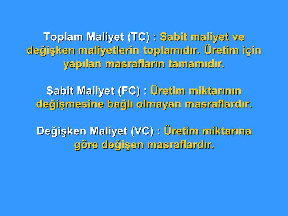 Toplam Maliyet (TC) : Sabit maliyet ve değişken maliyetlerin toplamıdır.