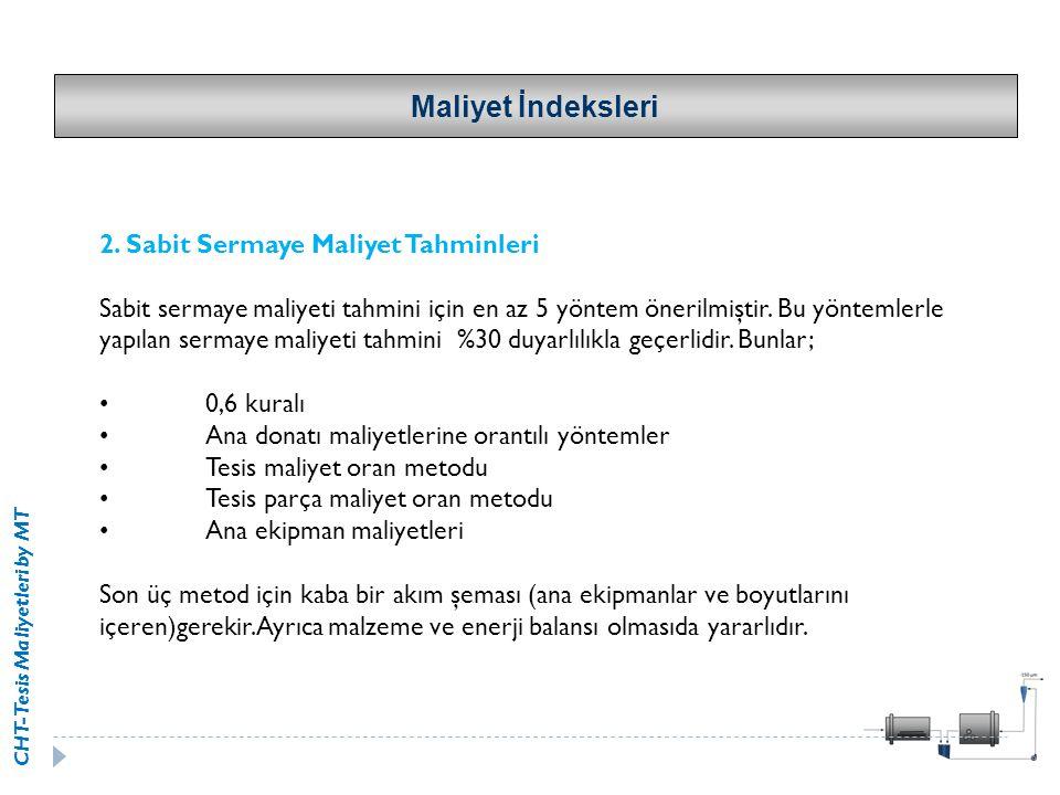 Maliyet İndeksleri 2. Sabit Sermaye Maliyet Tahminleri