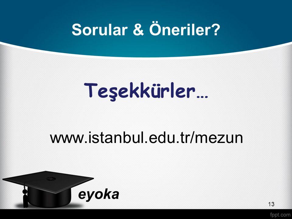 Sorular & Öneriler Teşekkürler… www.istanbul.edu.tr/mezun