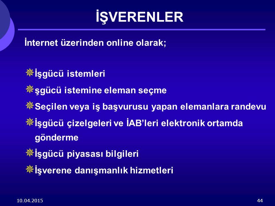 İŞVERENLER İnternet üzerinden online olarak; İşgücü istemleri