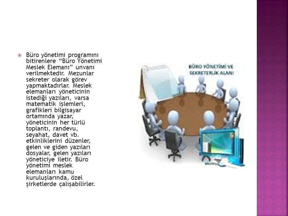 Büro yönetimi programını bitirenlere Büro Yönetimi Meslek Elemanı unvanı verilmektedir.
