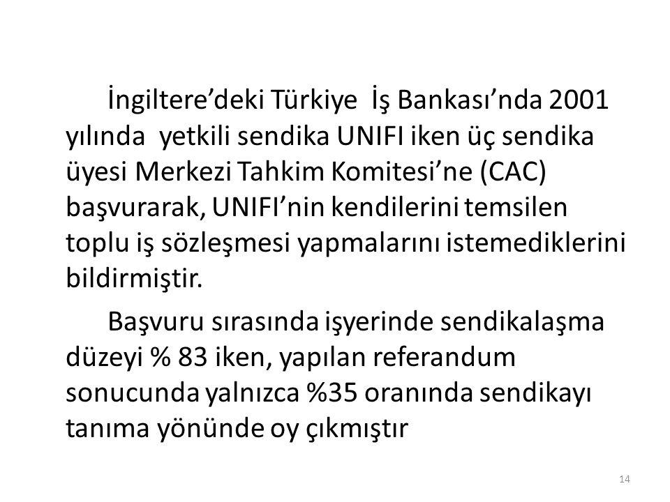 İngiltere'deki Türkiye İş Bankası'nda 2001 yılında yetkili sendika UNIFI iken üç sendika üyesi Merkezi Tahkim Komitesi'ne (CAC) başvurarak, UNIFI'nin kendilerini temsilen toplu iş sözleşmesi yapmalarını istemediklerini bildirmiştir.