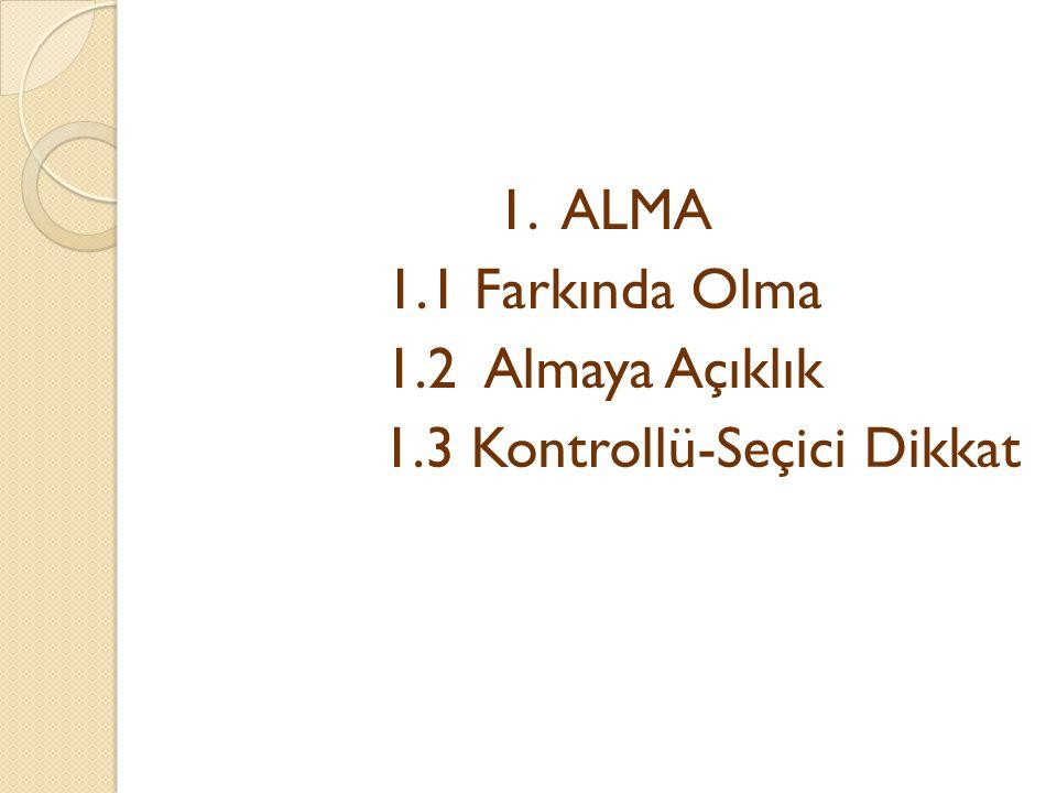 1. ALMA 1. 1 Farkında Olma 1. 2 Almaya Açıklık 1