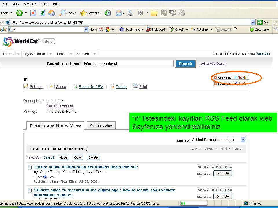 ir listesindeki kayıtları RSS Feed olarak web