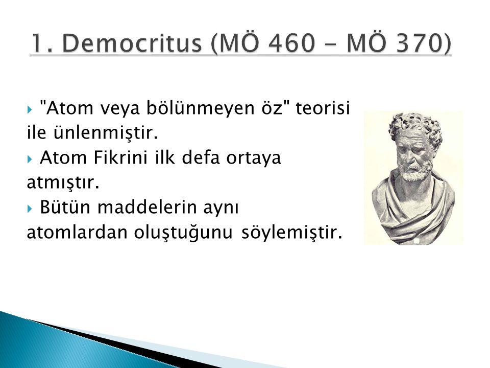 1. Democritus (MÖ 460 - MÖ 370) Atom veya bölünmeyen öz teorisi