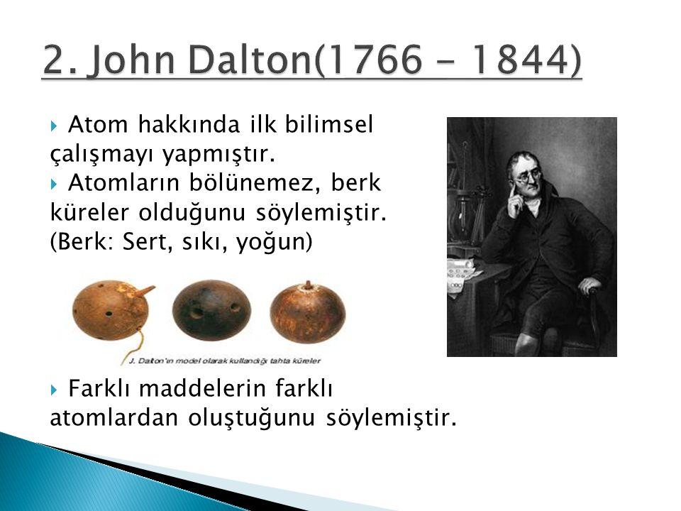 2. John Dalton(1766 - 1844) Atom hakkında ilk bilimsel
