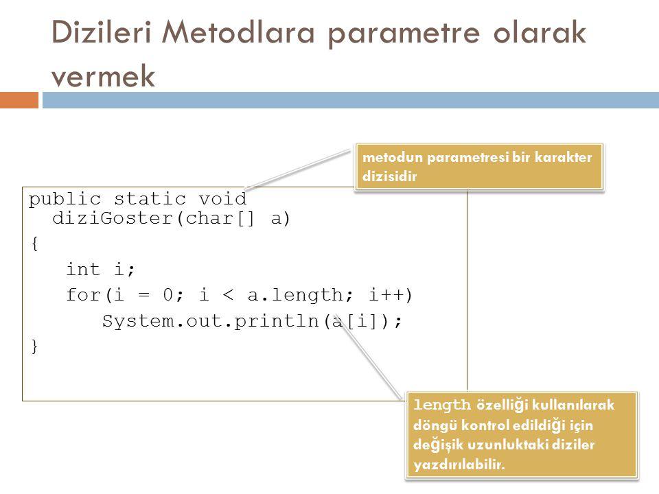 Dizileri Metodlara parametre olarak vermek