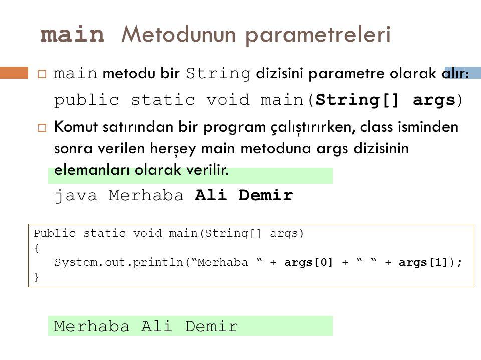 main Metodunun parametreleri