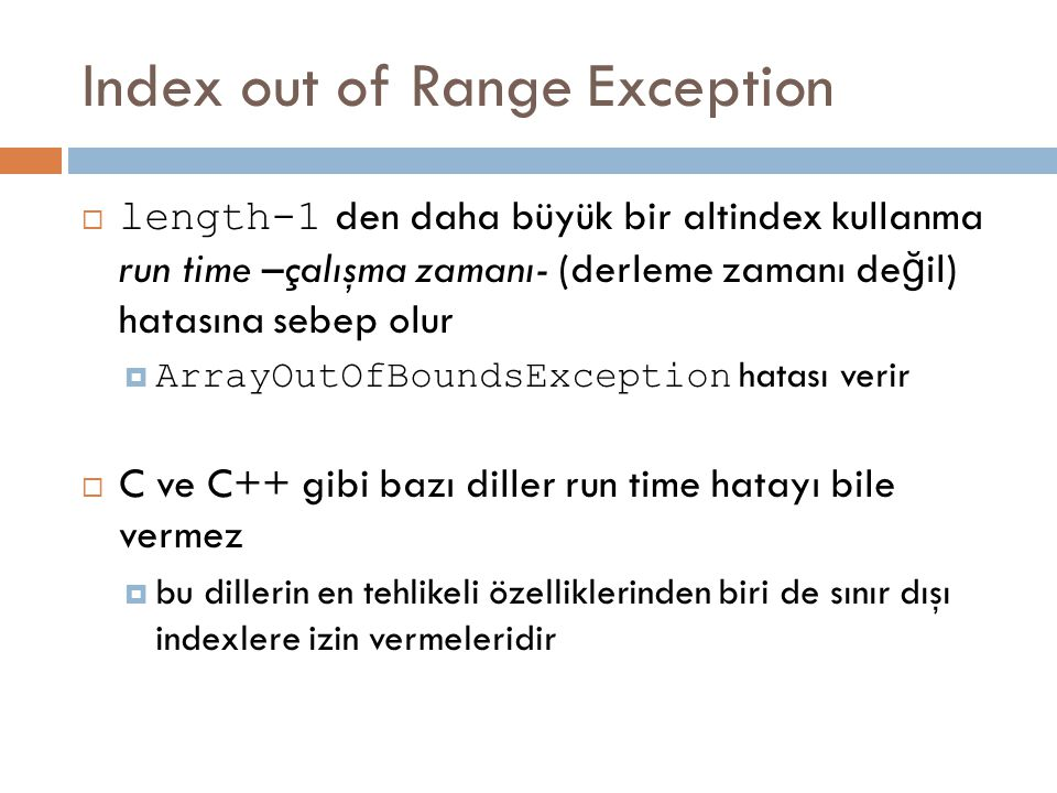 Index out of Range Exception