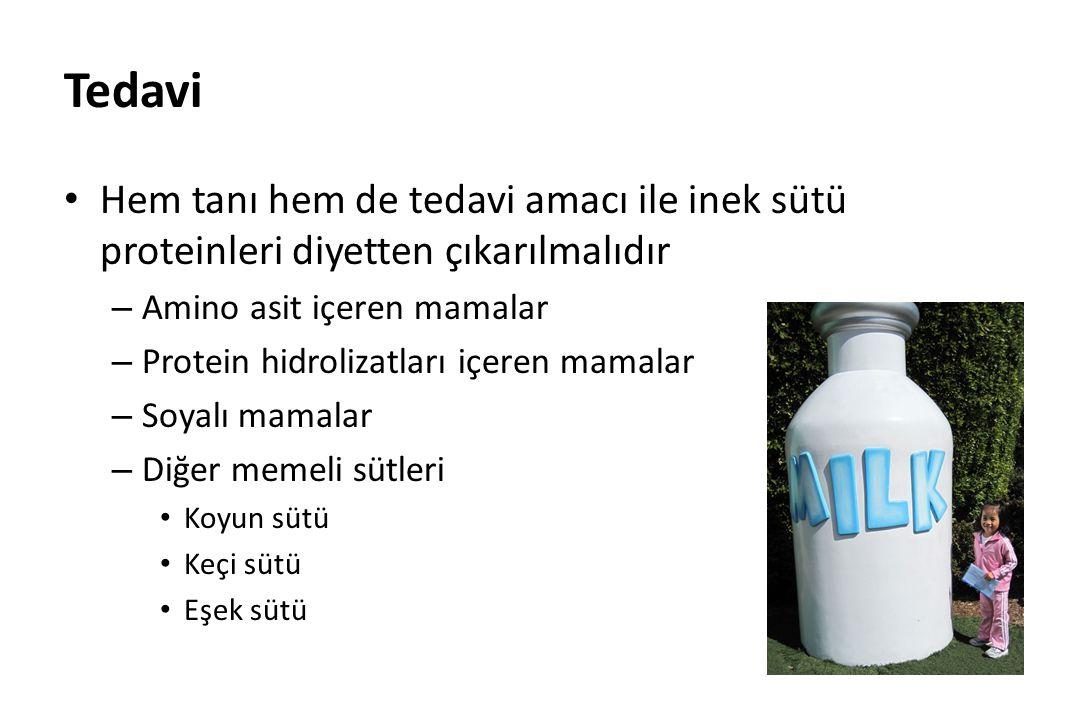 Tedavi Hem tanı hem de tedavi amacı ile inek sütü proteinleri diyetten çıkarılmalıdır. Amino asit içeren mamalar.