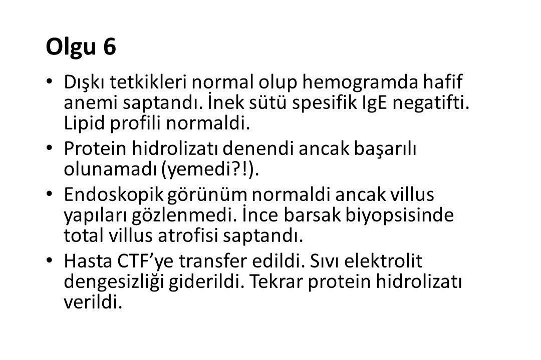 Olgu 6 Dışkı tetkikleri normal olup hemogramda hafif anemi saptandı. İnek sütü spesifik IgE negatifti. Lipid profili normaldi.