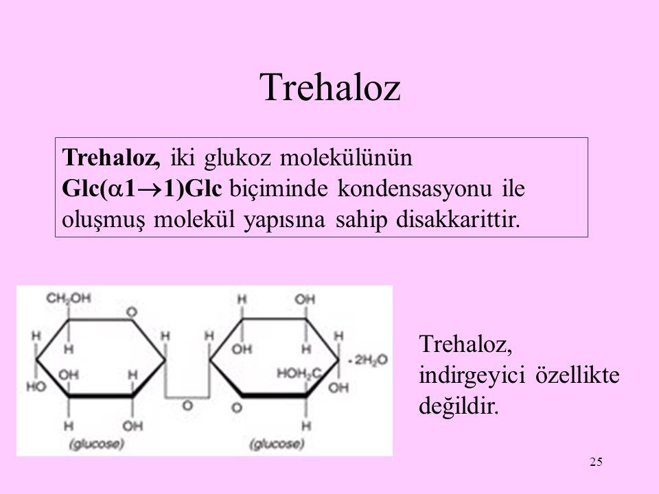 Trehaloz Trehaloz, iki glukoz molekülünün Glc(11)Glc biçiminde kondensasyonu ile oluşmuş molekül yapısına sahip disakkarittir.