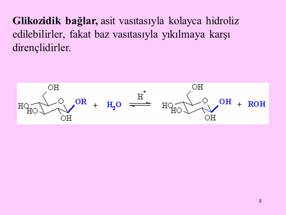 Glikozidik bağlar, asit vasıtasıyla kolayca hidroliz edilebilirler, fakat baz vasıtasıyla yıkılmaya karşı dirençlidirler.