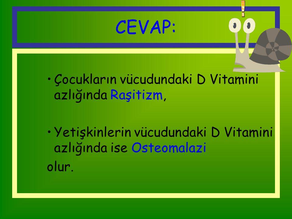 CEVAP: Çocukların vücudundaki D Vitamini azlığında Raşitizm,