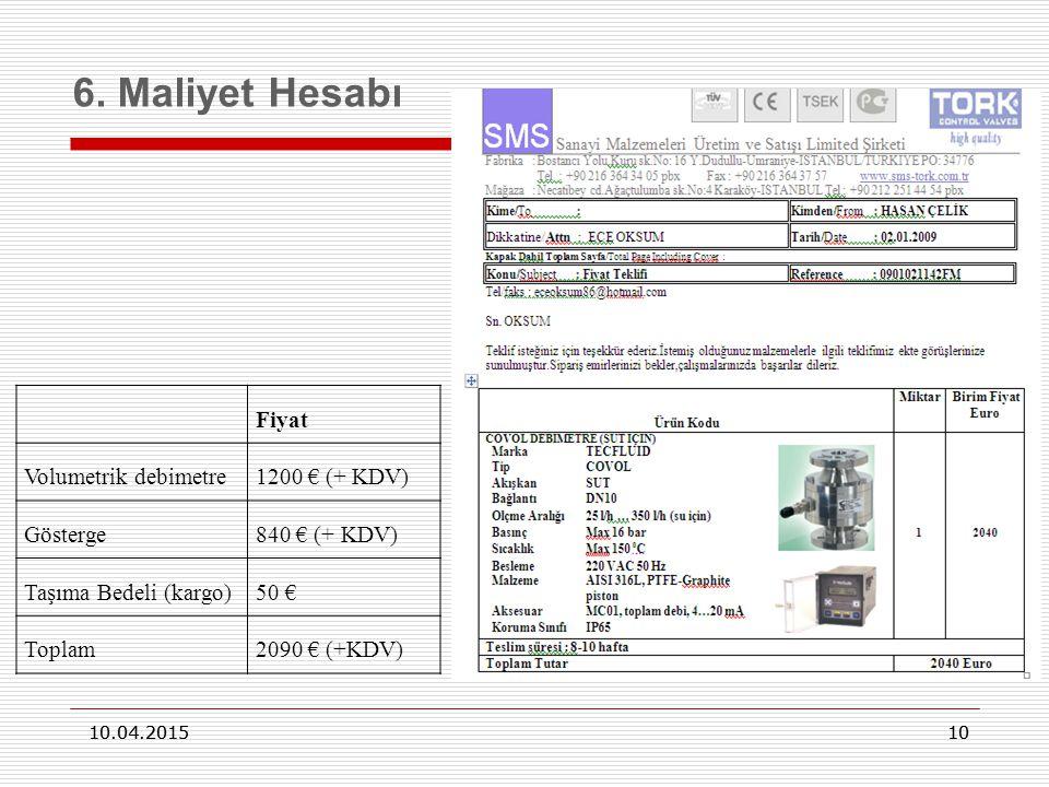 6. Maliyet Hesabı Fiyat Volumetrik debimetre 1200 € (+ KDV) Gösterge