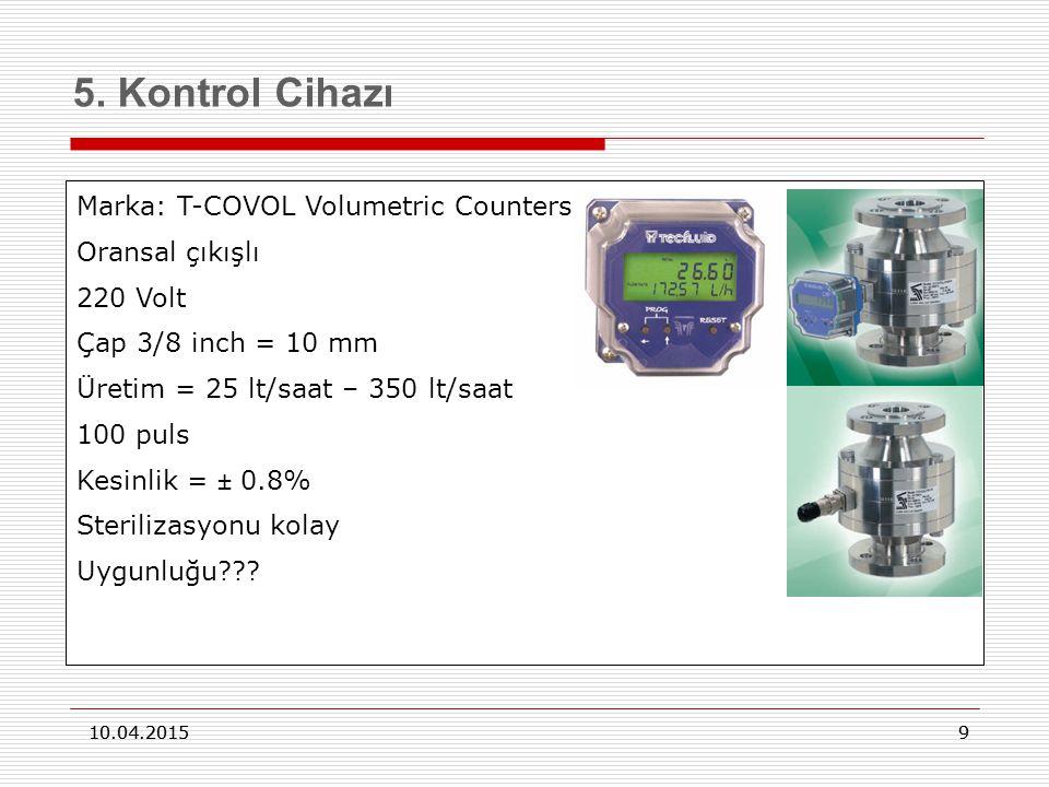 5. Kontrol Cihazı Marka: T-COVOL Volumetric Counters Oransal çıkışlı