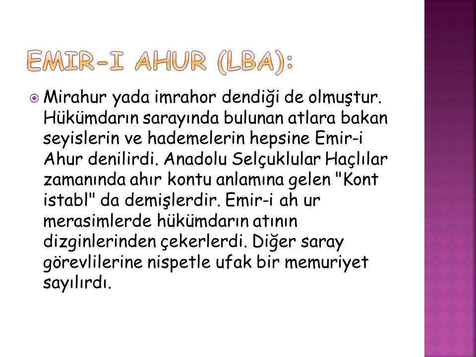 Emir-i Ahur (lba):