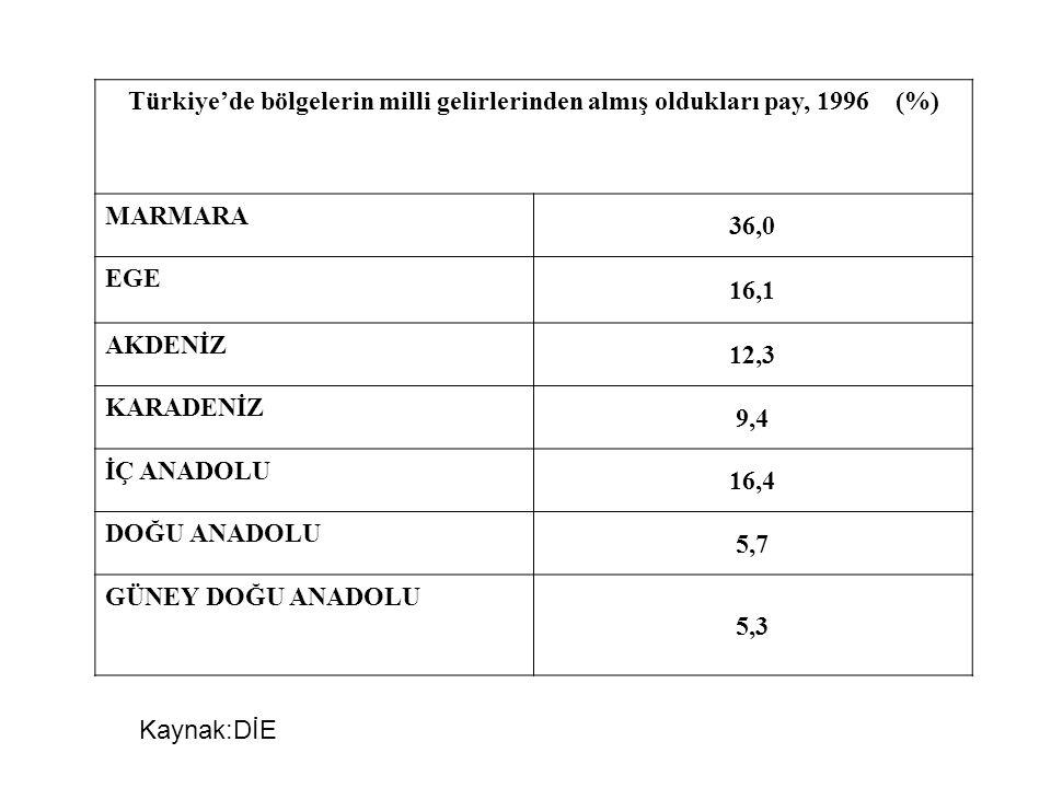 Türkiye'de bölgelerin milli gelirlerinden almış oldukları pay, 1996 (%)