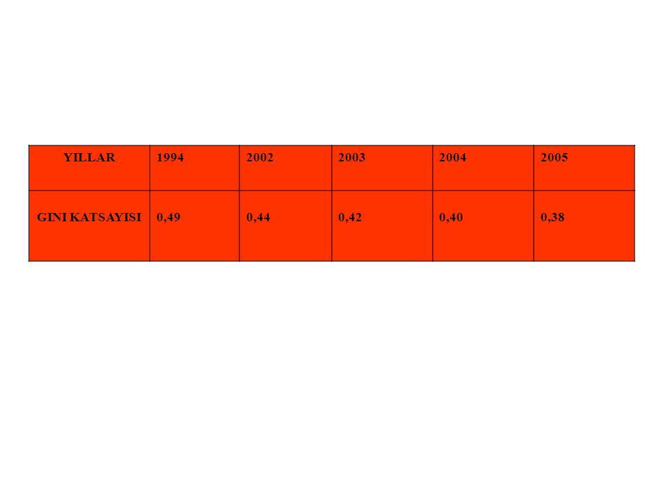 YILLAR 1994 2002 2003 2004 2005 GINI KATSAYISI 0,49 0,44 0,42 0,40 0,38