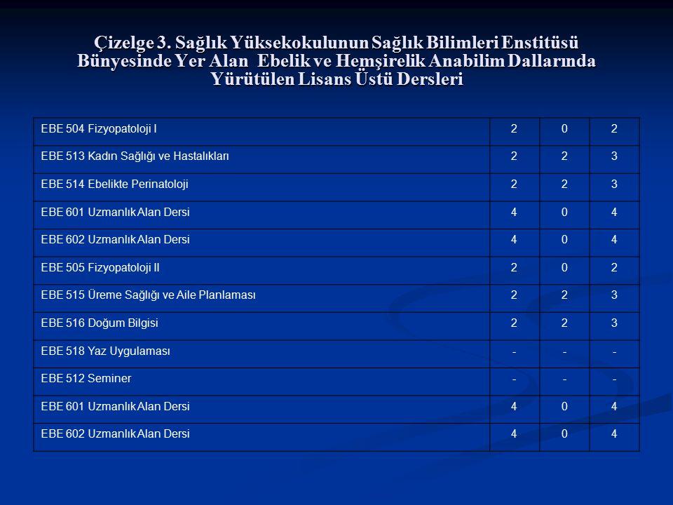 Çizelge 3. Sağlık Yüksekokulunun Sağlık Bilimleri Enstitüsü Bünyesinde Yer Alan Ebelik ve Hemşirelik Anabilim Dallarında Yürütülen Lisans Üstü Dersleri
