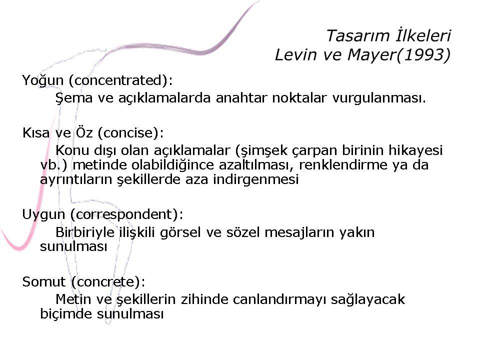 Tasarım İlkeleri Levin ve Mayer(1993)
