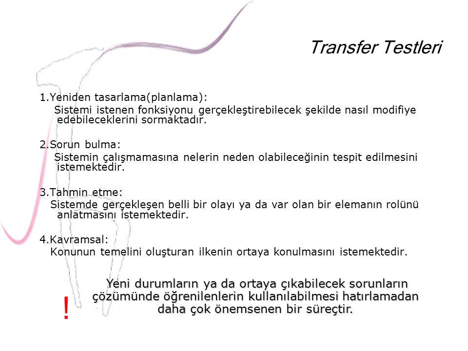 Transfer Testleri 1.Yeniden tasarlama(planlama):