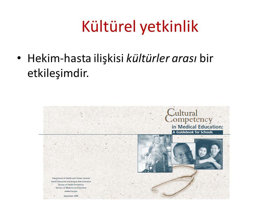 Kültürel yetkinlik Hekim-hasta ilişkisi kültürler arası bir etkileşimdir.