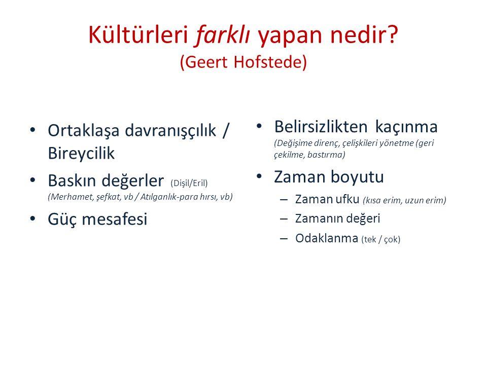 Kültürleri farklı yapan nedir (Geert Hofstede)