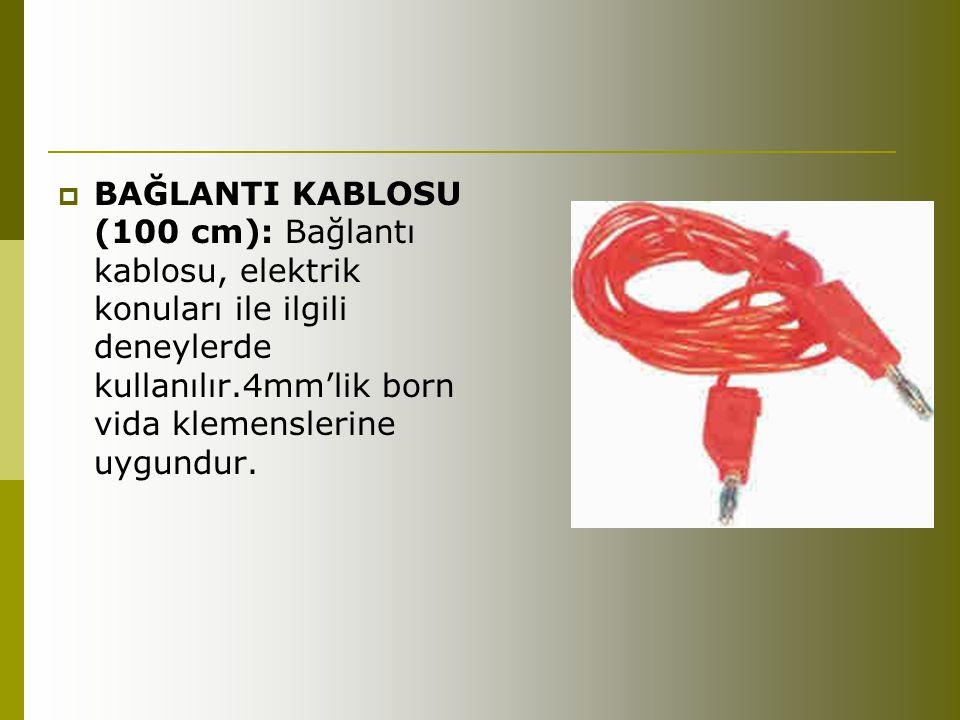 BAĞLANTI KABLOSU (100 cm): Bağlantı kablosu, elektrik konuları ile ilgili deneylerde kullanılır.4mm'lik born vida klemenslerine uygundur.