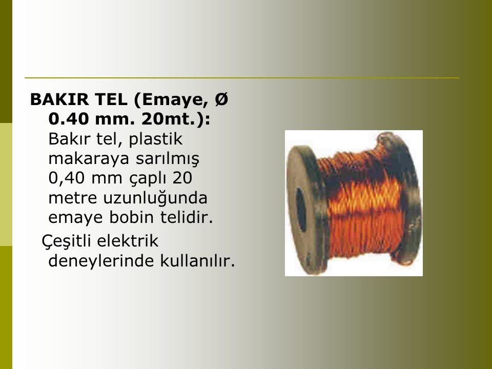 BAKIR TEL (Emaye, Ø 0.40 mm. 20mt.): Bakır tel, plastik makaraya sarılmış 0,40 mm çaplı 20 metre uzunluğunda emaye bobin telidir.