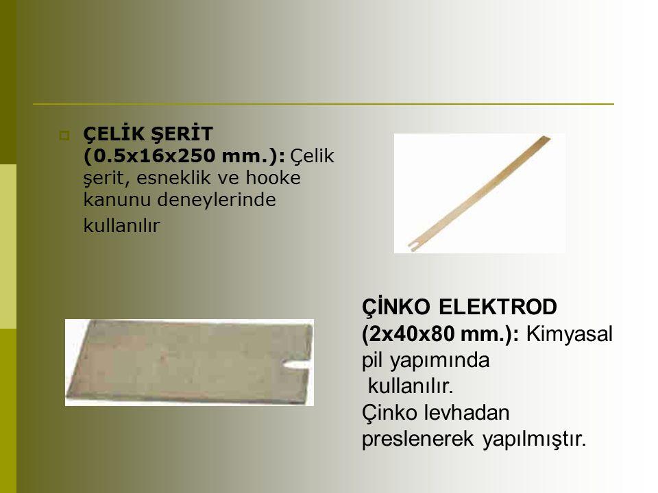 ÇİNKO ELEKTROD (2x40x80 mm.): Kimyasal pil yapımında