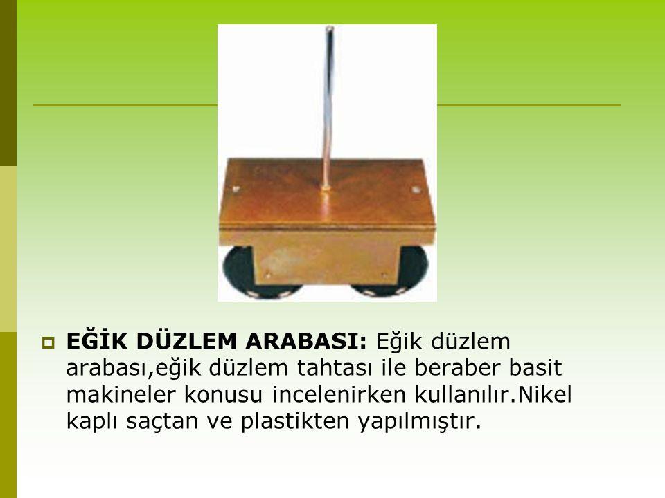 EĞİK DÜZLEM ARABASI: Eğik düzlem arabası,eğik düzlem tahtası ile beraber basit makineler konusu incelenirken kullanılır.Nikel kaplı saçtan ve plastikten yapılmıştır.
