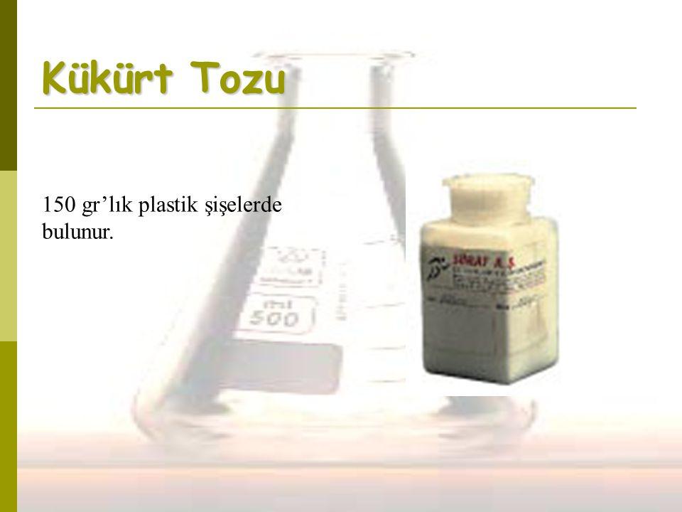 Kükürt Tozu 150 gr'lık plastik şişelerde bulunur.