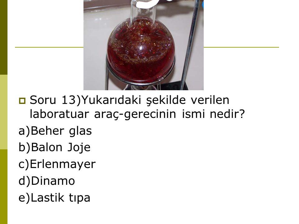 Soru 13)Yukarıdaki şekilde verilen laboratuar araç-gerecinin ismi nedir