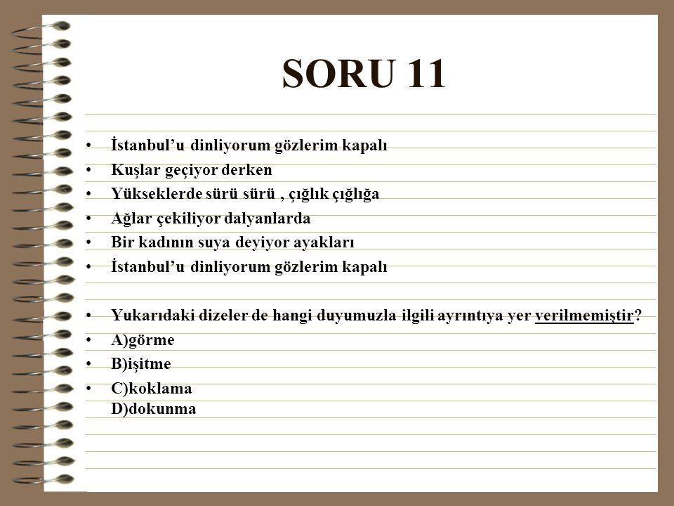 SORU 11 İstanbul'u dinliyorum gözlerim kapalı Kuşlar geçiyor derken