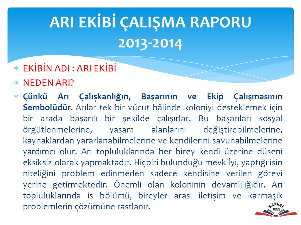 ARI EKİBİ ÇALIŞMA RAPORU 2013-2014