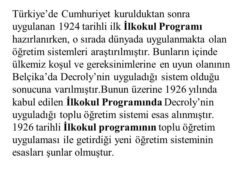 Türkiye'de Cumhuriyet kurulduktan sonra uygulanan 1924 tarihli ilk İlkokul Programı hazırlanırken, o sırada dünyada uygulanmakta olan öğretim sistemleri araştırılmıştır.